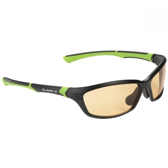 Swiss Eye Lunettes de soleil Drift avec verres photochromiques orange fumés/monture noire mate et verte