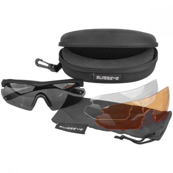 Swiss Eye Lunettes de soleil Nighthawk avec verres fumés/orange/transparents et monture noire en caoutchouc