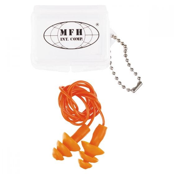 MFH Bouchons d'oreilles avec étui orange