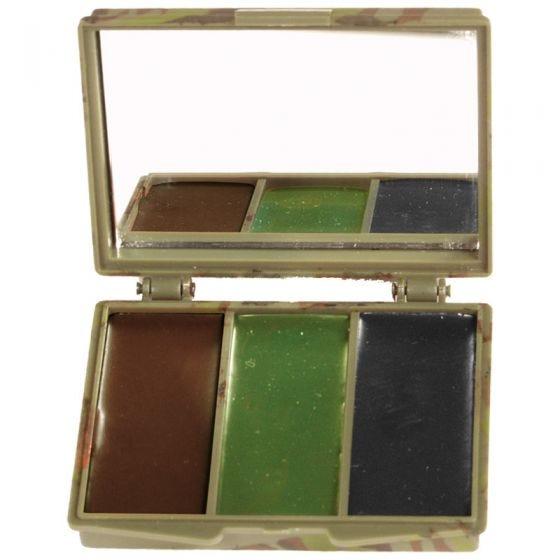 Mil-Tec Maquillage de camouflage 3 couleurs pour le visage avec miroir Woodland
