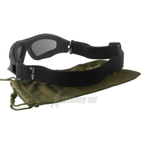 Mil-Tec Lunettes de protection à verres fumés Commando Air Pro noires