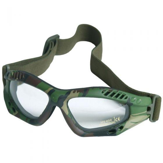 Mil-Tec Lunettes de protection à verres transparents Commando Air Pro Woodland