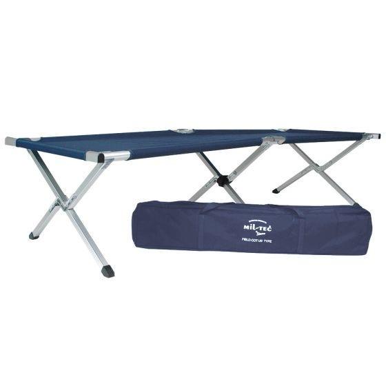 Mil-Tec Lit de camp style américain 190 x 65 cm bleu