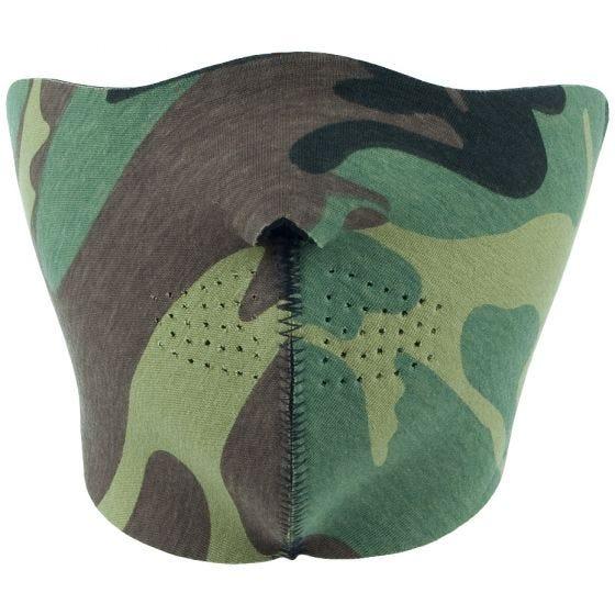 Mil-Tec Demi-masque réversible en néoprène noir/Woodland