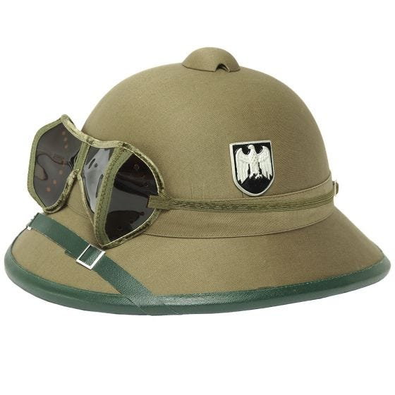 Casque Mil-Tec Wehrmacht tropical avec lunettes de protection