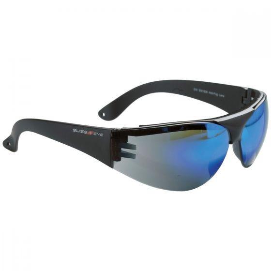 Swiss Eye Lunettes de protection Outbreak à monture noire/verres bleus effet miroir