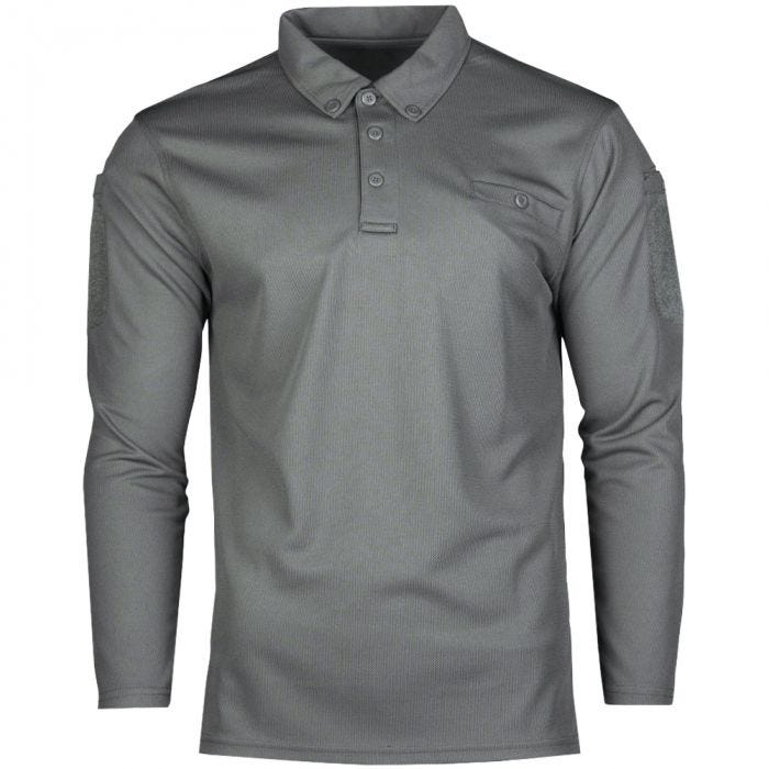 Mil-Tec Tactical Long Sleeve Quick Dry Polo Shirt Urban Grey