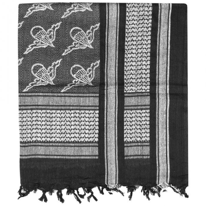 Mil-Tec Écharpe Shemagh à motifs parachutes noire/blanche