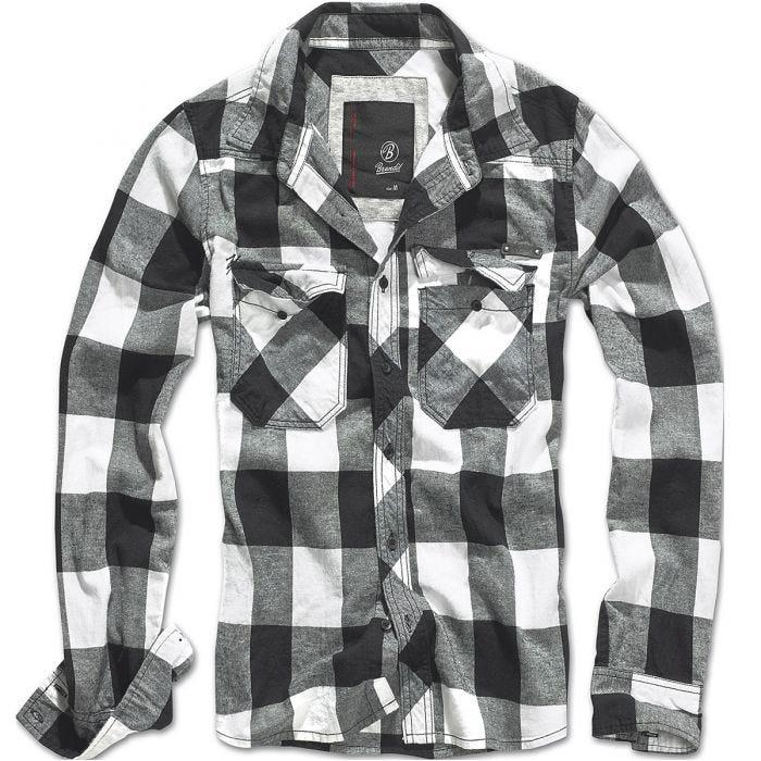 Brandit T-shirt Check blanc/noir