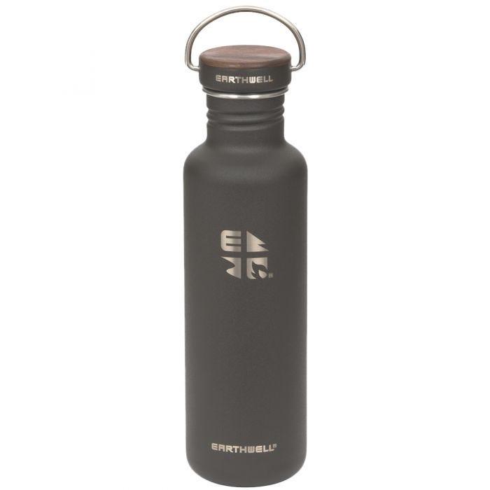 Earthwell Bouteille à paroi simple Woodie 800 ml Walnut/Volcanic Black