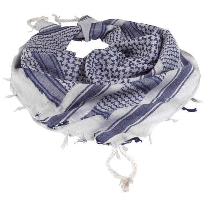Mil-Tec Écharpe Shemagh blanche/bleue
