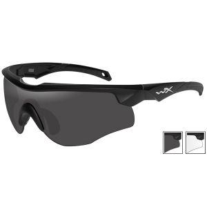 Wiley X Lunettes WX Rogue avec verres couleur gris fumé + transparents et monture noire mate