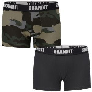 Brandit Lot de 2 boxers Logo Dark Camo/noir