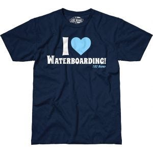 7.62 T-Shirt design I Love Waterboarding couleur bleue marine
