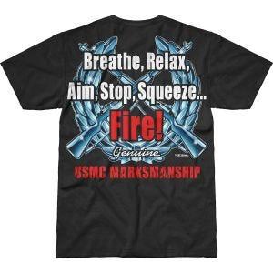 7.62 Design T-shirt USMC Marksmanship Battlespace noir
