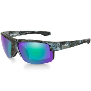 Wiley X WX Compass Glasses - Polarized Emerald Mirror Lens / Kryptek Neptune Frame