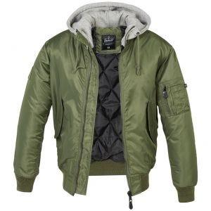 Brandit Veste à capuche style pull MA1 vert olive/grise
