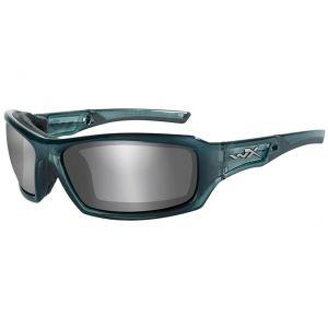 Wiley X Lunettes WX Echo avec verres couleur gris fumé flash argentés et monture bleu acier fumé