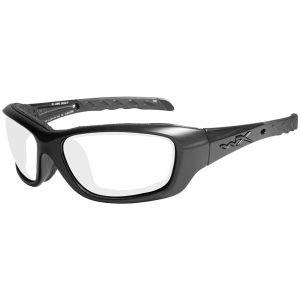 Wiley X Lunettes WX Gravity avec verres transparents et monture noire brillante