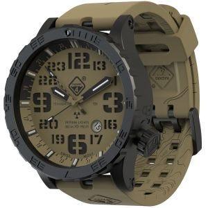 Hazard 4 Montre de plongée Heavy Water Diver Blacktie avec aiguille GMT Arid Brown en titanium/tritium vert/jaune