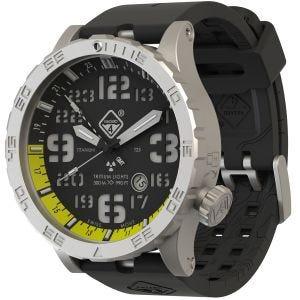 Hazard 4 Montre de plongée Heavy Water Diver Blacktie avec aiguille GMT jaune en titanium/tritium vert/jaune