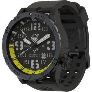Hazard 4 Montre de plongée Heavy Water Diver Nightwatch avec aiguille GMT jaune en titanium/tritium vert/jaune