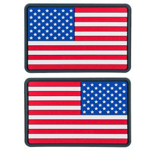Helikon Lot de 2 petits écussons en PVC avec drapeau des États-Unis vraies couleurs