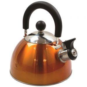 Highlander Bouilloire sifflante en acier inoxydable Deluxe orange