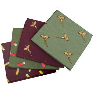 Jack Pyke Lot de 4 mouchoirs de poche à motifs faisans Wine/vert
