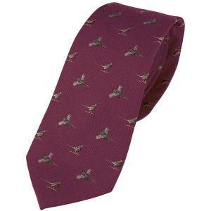 Jack Pyke Silk Tie Pheasant Burgundy