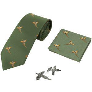 Jack Pyke Lot cravate, mouchoir et boutons de manchettes à motifs faisans vert