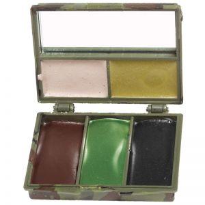 Mil-Tec Maquillage de camouflage 5 couleurs pour le visage avec miroir Woodland