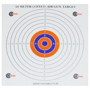 SMK Lot de 100 cibles en papier 17 cm colorées au centre
