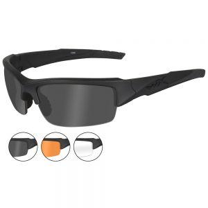 Wiley X Lunettes WX Valor avec verres couleur gris fumé + transparents + orangés et monture noire mate