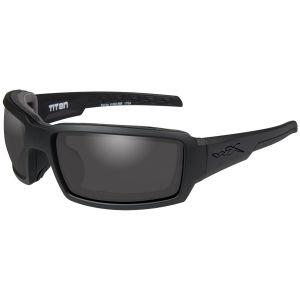 Wiley X Lunettes WX Titan avec verres couleur gris fumé et monture noire mate