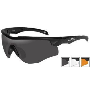 Wiley X Lunettes WX Rogue avec verres couleur gris fumé + transparents + orangés et monture noire mate