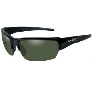 Wiley X Lunettes WX Saint avec verres polarisés couleur vert fumé et monture noire brillante