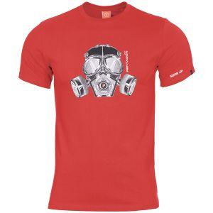 Pentagon T-shirt Ageron motif masque à gaz Lava Red