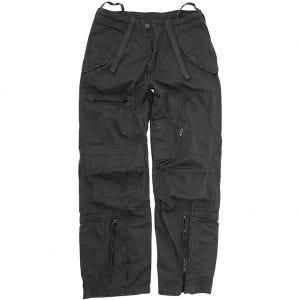 Mil-Tec Pantalon de pilote en popeline de coton prélavée noir