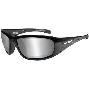 Wiley X Lunettes WX Boss avec verres couleur gris fumé Flash argentés et monture noire brillante