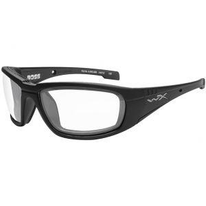 Wiley X Lunettes WX Boss avec verres transparents et monture noire brillante
