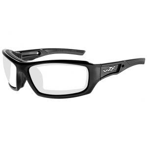 Wiley X Lunettes WX Echo avec verres transparents et monture noire brillante