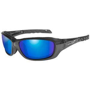 Wiley X Lunettes WX Gravity avec verres polarisés bleus effet miroir et monture noir cristal