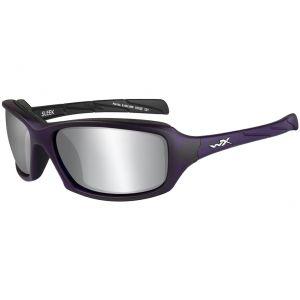 Wiley X Lunettes WX Sleek avec verres couleur gris fumé Flash argentés et monture violette mate