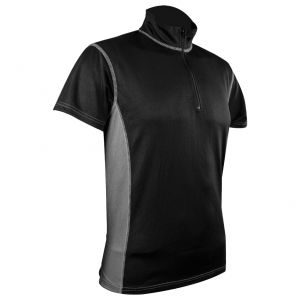 Highlander T-Shirt à col zippé pour homme Pro Tech noir/gris