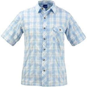 Propper Chemise Covert boutonnée à manches courtes Plaid bleu clair