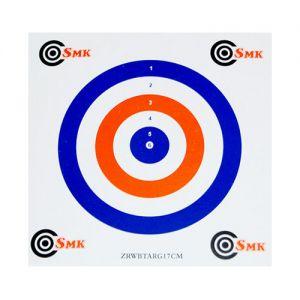 SMK Lot de 100 cibles en carton 17 cm bleues/blanches/rouges